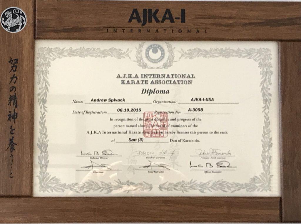 Dan Certificate Warwick Shotokan Karate Club